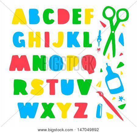 Stock vector hand drawn alphabet for your design. Color print on white background