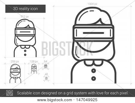 Three D reality vector line icon isolated on white background. Three D reality line icon for infographic, website or app. Scalable icon designed on a grid system.