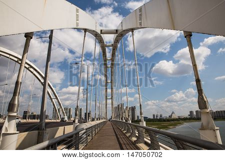 Astana, Kazakhstan 27 08 2016 Arkar bridge in summertime
