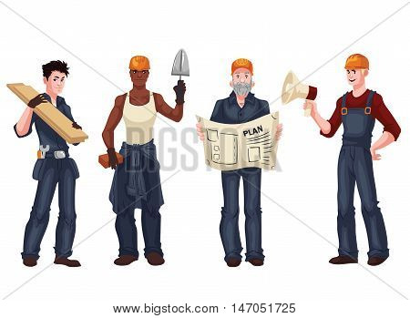 Set of industrial workers - foreman, builder, bricklayer, architect, cartoon style vector illustration isolated on white background. Collection of young and happy industrial workers