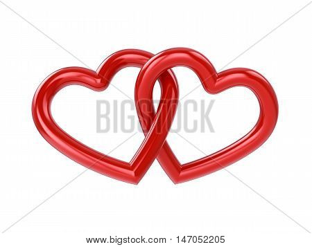 Couple of intersecting red hearts isolated on white , 3d illustration