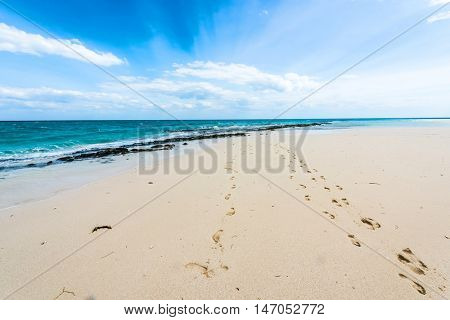 beautiful colorful seascape with footprints on a shore and blue sky
