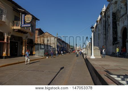 Leon Nicaragua on March 16 2016 principal street view at afternoon. Travel imagery for Nicaragua
