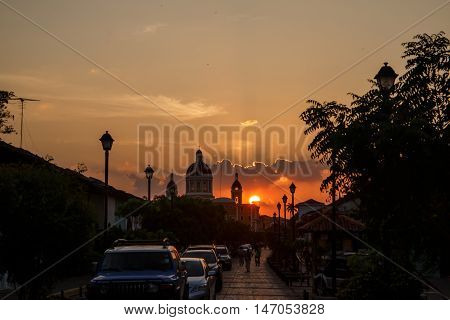 Granada Nicaragua - March 21 2016: La Calzada street view at afternoon. Travel imagery for Nicaragua