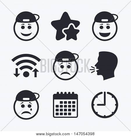Rapper smile face icons. Happy, sad, cry signs. Happy smiley chat symbol. Sadness depression and crying signs. Wifi internet, favorite stars, calendar and clock. Talking head. Vector