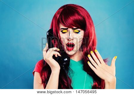 Cartoon Character. Surprised Girl with Comic Pop Art Makeup and Retro Phone