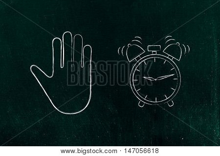 Hand Making A Stop Gesture And Alarm Ringing