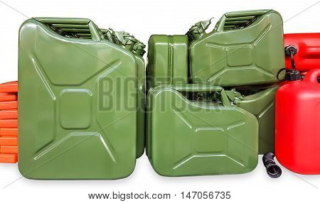 Many green metal cans on a white background.