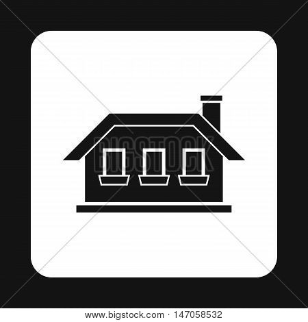 One storey house with three windows icon in simple style isolated on white background. Structure symbol vector illustration