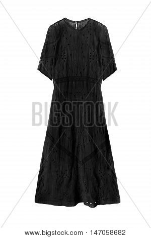 Black lacy long dress isolated over white