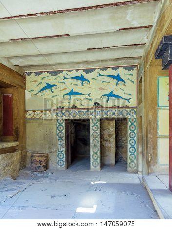Dolphin Fresco, Symbol Of Minoan Culture, Knossos Palace