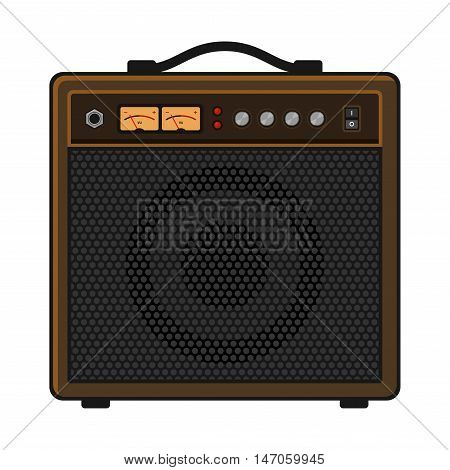 Electric Guitar Amplifier on White Background. Vector illustration