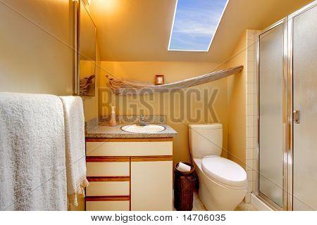 Yellow Simple Bathroom With Skylight