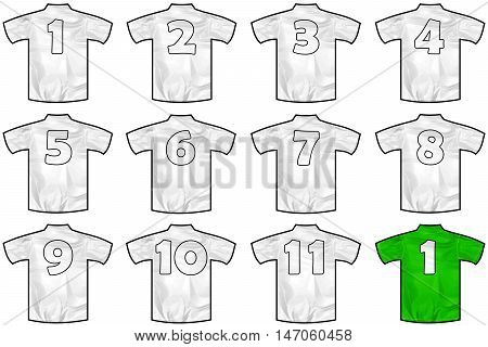 12 twelve white sport shirts as a soccer hockey basket rugby baseball volley or football team t-shirt. Like German or England or USA national team