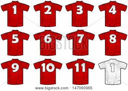twelve red sport shirts as a soccer hockey basket rugby baseball volley or football team t-shirt. Like England or Russia national team