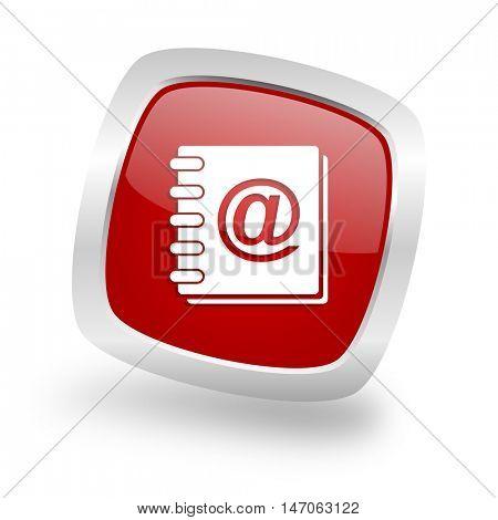 address book square glossy red chrome silver metallic web icon