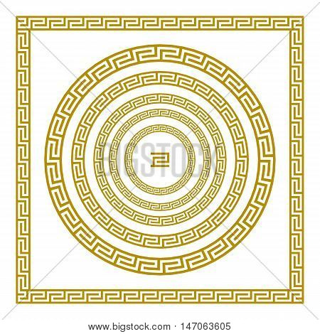 Vector Set Traditional Vintage Golden Square And Round Greek Ornament Meander Border Greece Gold