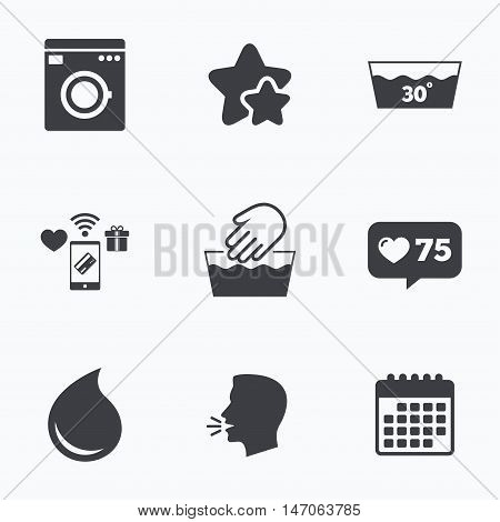 Hand wash icon. Machine washable at 30 degrees symbols. Laundry washhouse and water drop signs. Flat talking head, calendar icons. Stars, like counter icons. Vector