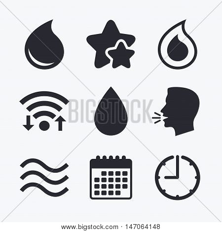 Water drop icons. Tear or Oil drop symbols. Wifi internet, favorite stars, calendar and clock. Talking head. Vector