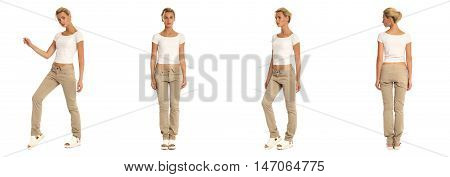 Young Sexy Blond Woman In White Blouse Isolated
