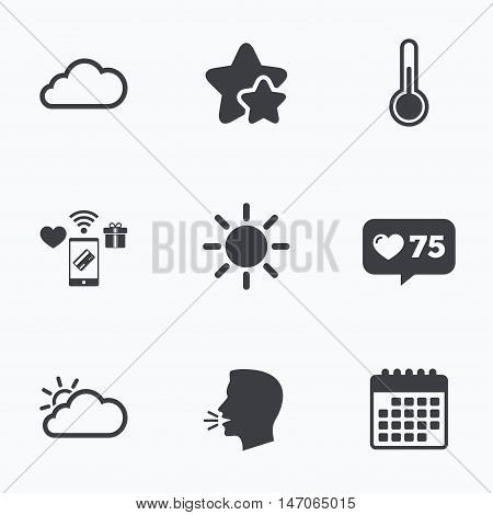 Weather icons. Cloud and sun signs. Thermometer temperature symbol. Flat talking head, calendar icons. Stars, like counter icons. Vector
