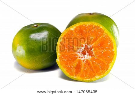 Orange Fruit With Half View Isolated On White Background