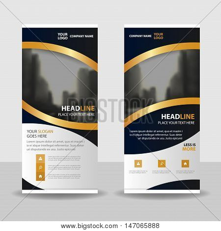 Gold elegance roll up business brochure flyer banner design cover presentation abstract geometric background modern publication x-banner and flag-banner layout in rectangle size.