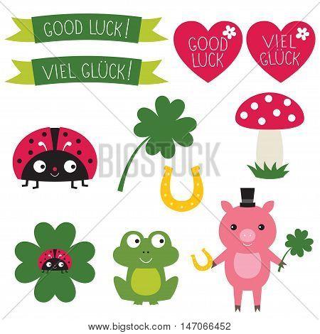 Good luck symbols set. Text