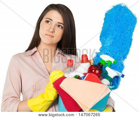 Young Charwoman Holding Accessories for Cleaning  - Isolated