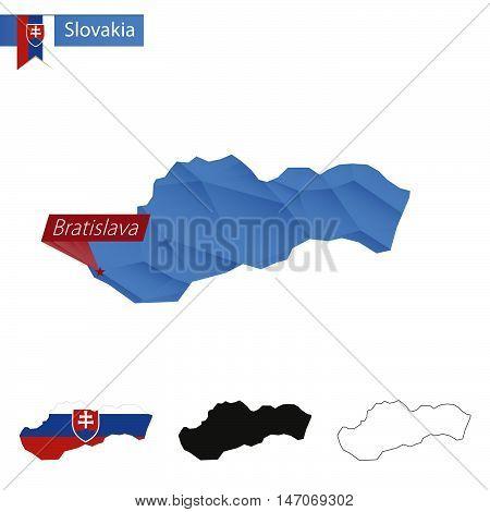 Slovakia Blue Low Poly Map With Capital Bratislava.