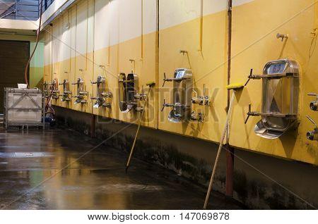 Fermentation in stainless steel vessels in Bulgarian winery