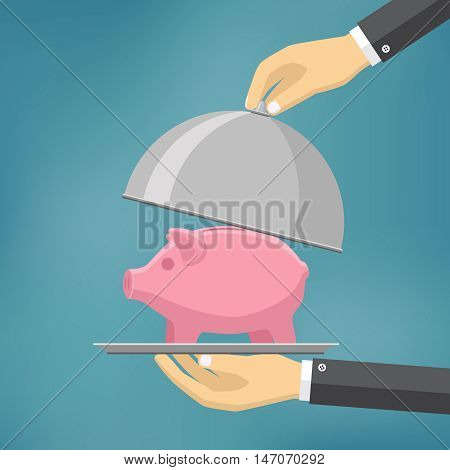 The businessman offering piggybank on the serve plate. The concept of funding a commercial project or investment in bank deposit. Flat design. Vector illustration