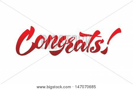 Congrats - calligraphic lettering for banner, card, poster.