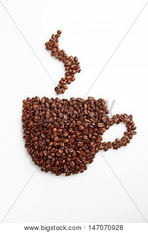 Coffee beans in the shape of a coffee mug