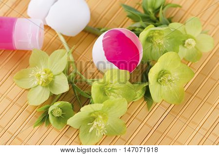 Yellow pad with red tempera in a egg shell as an Easter decoration