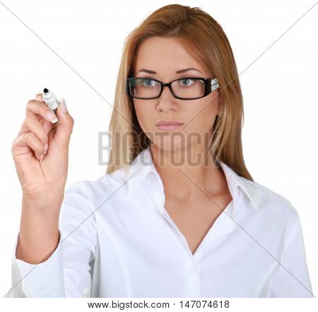 Businesswoman writing with a dry erase marker