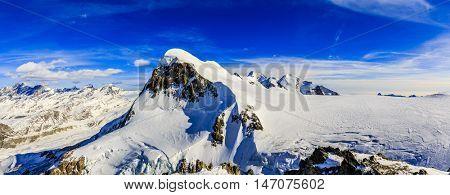 Breithorn panorama viewed from Klein Matterhorn on a clear winter day.