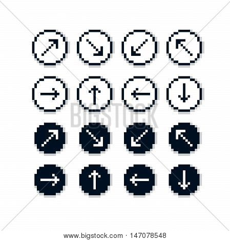 Different vector arrows pixel icons isolated collection of 8bit graphic elements. Simplistic digital direction signs web icons.