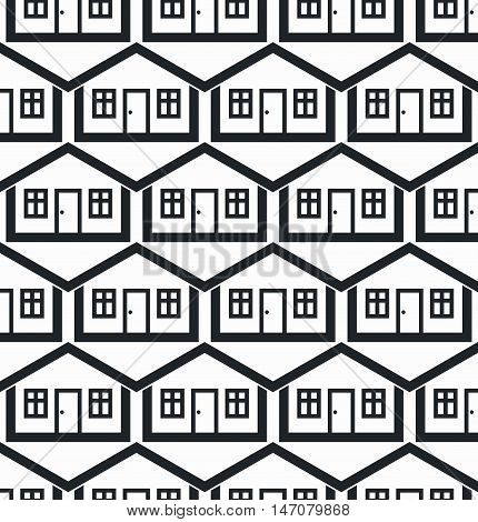 Real estate theme symmetric vector seamless pattern abstract houses depiction. Property idea for use in graphic design.
