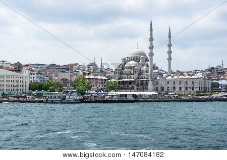 ISTANBUL TURKEY - JUNE 25 2015: View on New Mosque in Eminonu Istanbul Turkey