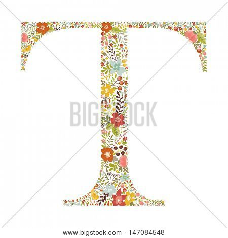 T letter with decorative floral ornament