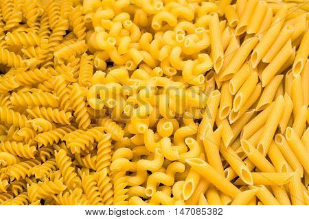 Cavatappi Rotini Rigate dry pasta traditional cut.