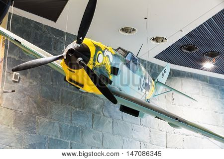 Minsk, Belarus - December 20, 2015: Fighter airplane Me-109 used by Germany in World War II In The Belarusian Museum Of The Great Patriotic War