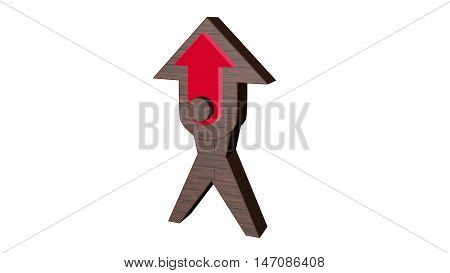 3D illustration arrow. 3D rendering with red middle on white background.