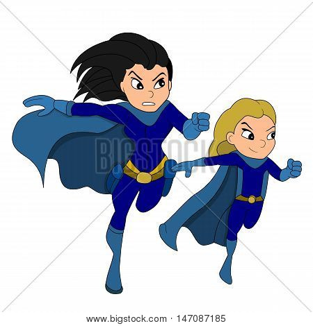 Illustration of a costumed female hero and her girl sidekick isolated on a white background