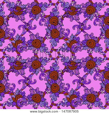 Violet lilac seamless pattern with doodles details. Vector.