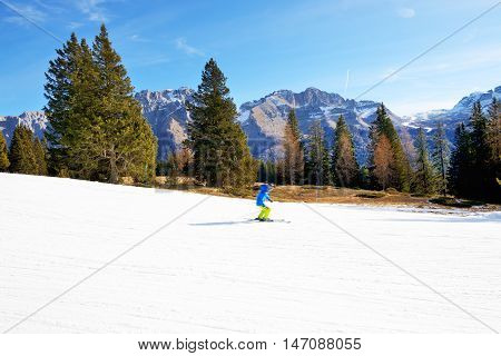 The ski and skier Madonna di Campiglio Italy.