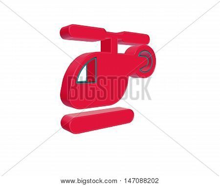 3D illustration red helicopter isolated on white background. 3D rendering.
