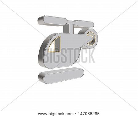 3D illustration grey helicopter isolated on white background. 3D rendering.