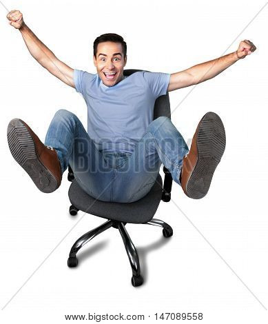 Portrait of an Overjoyed Man on a Chair
